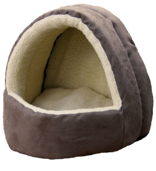 Fleece Lined Hooded Cat Bed (Igloo) Faux Suede Brown/Oatmeal