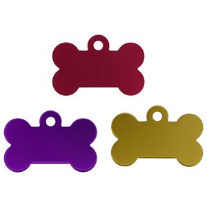 Bone Shape Alloy Pet Tag 32mm or 38mm 8 Colours