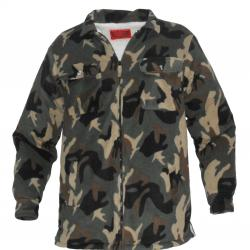 Gents Sherpa Lined Zip Shirt Camouflage Green