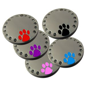 Round Chrome Plated 30mm Pet Tag with Crystals